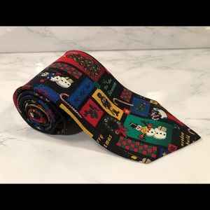 VTG RM Holidays Christmas Collage Neck Tie Ugly Ch